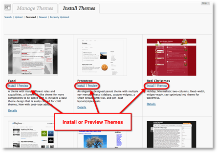 wordpress install themes choices