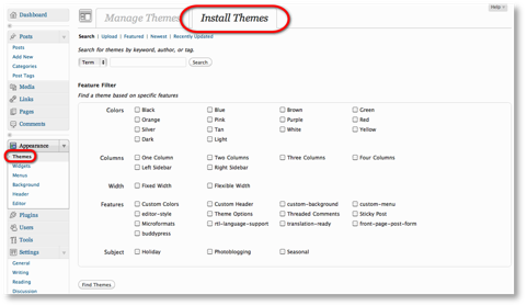install themes menu wordpress