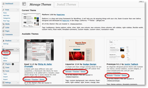 manage themes menu wordpress
