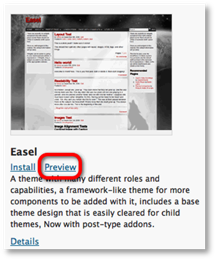 preview theme selection wordpress