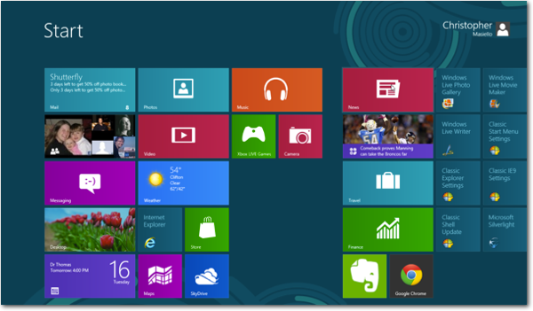 Windows 8 metro screen